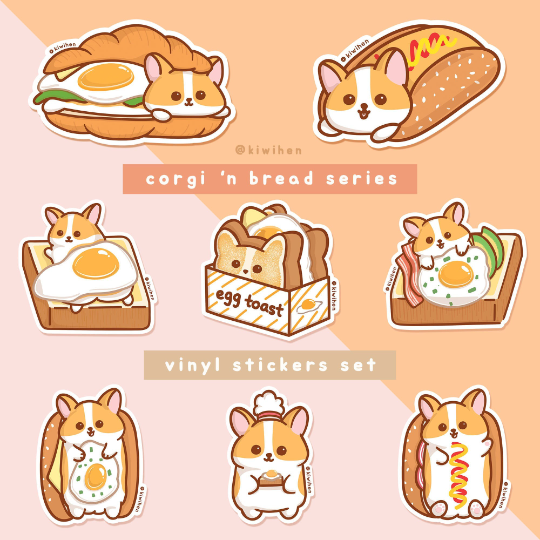 Corgi n Bread Vinyl Stickers Set (Set of 8 stickers)