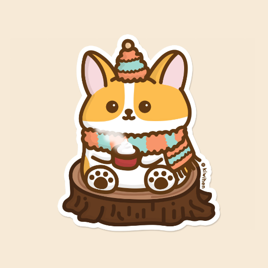 Cozy Corgi Vinyl Sticker