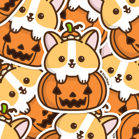 Pumpkin Corgi Vinyl Sticker