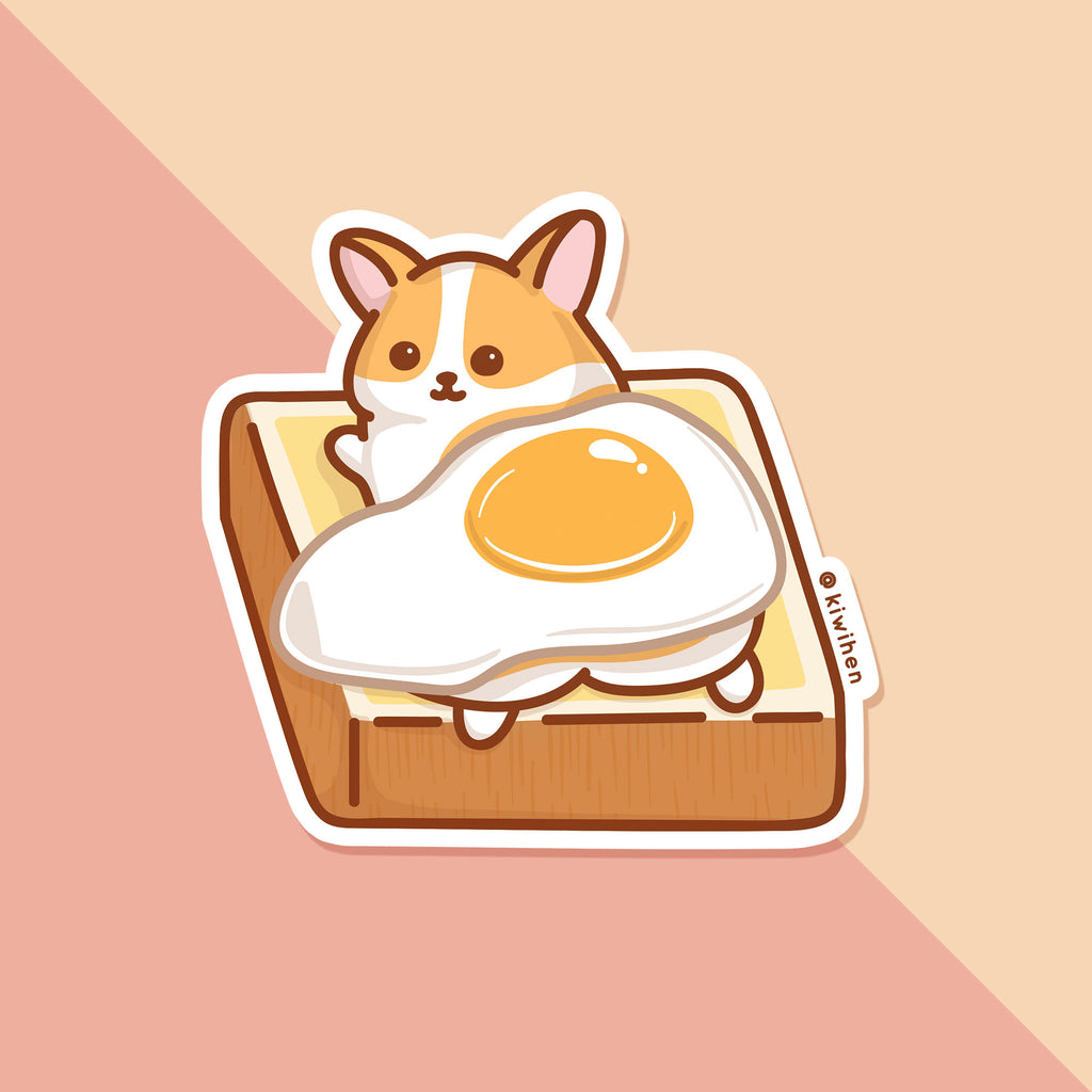 Egg on Corgi Vinyl Sticker
