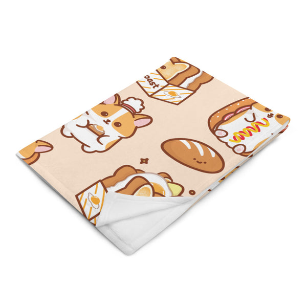 Corgi Egg Toast Fleece Blanket