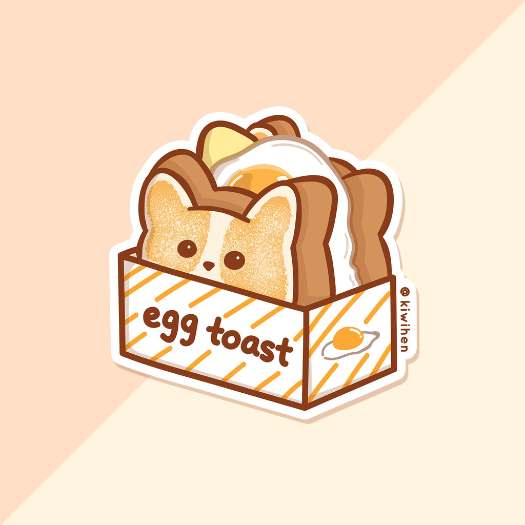 Corgi Egg Toast Vinyl Sticker
