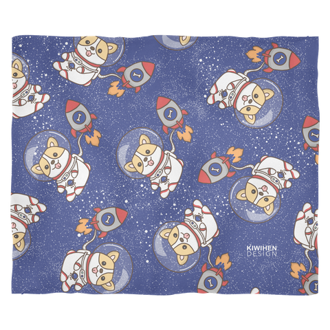 Space Corgi Fleece Blanket