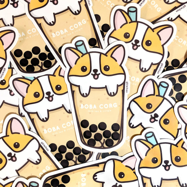 Boba Corgi Sticker