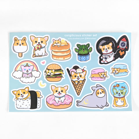 Corgilicious Kiss Cut A9 Sticker Sheet