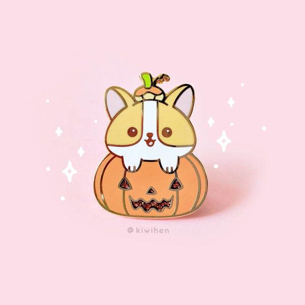 Pumpkin Corgi Pin