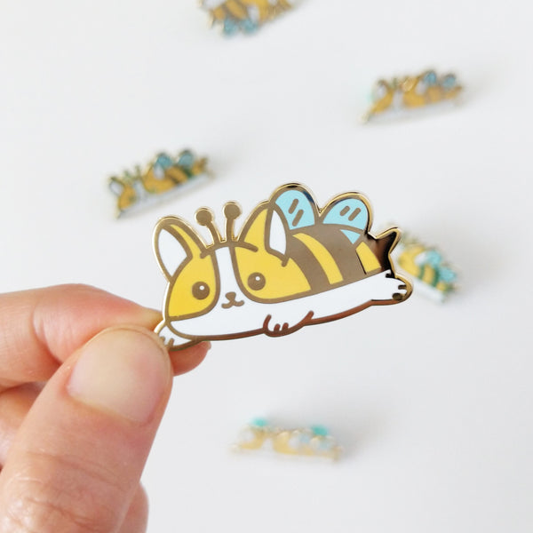 Bee Corgi Enamel Pin