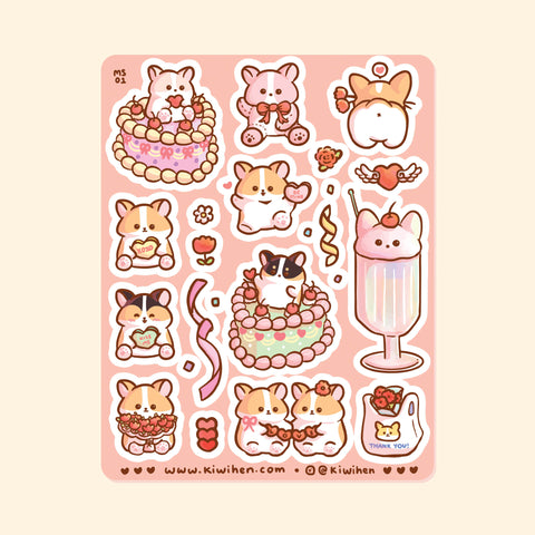 Love Corgi Sticker Sheet