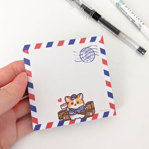 Mail Carrier Corgi Memo Pad
