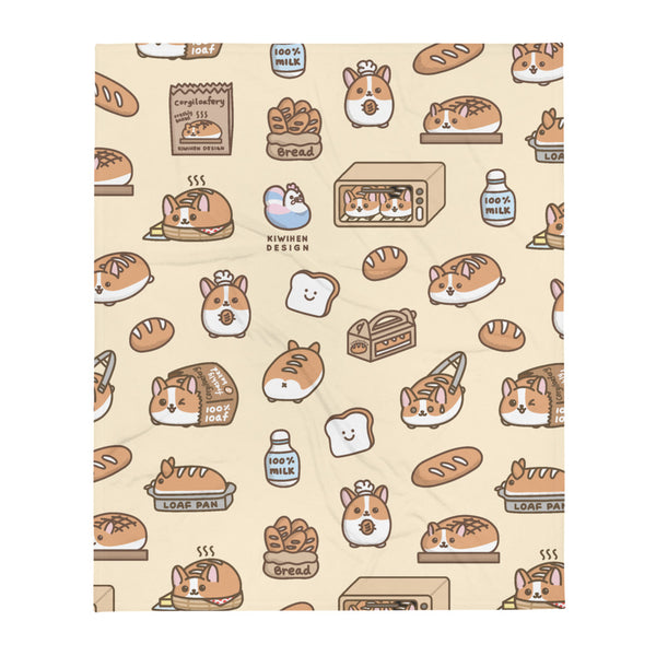 Corgi Bread Loaf Fleece Blanket