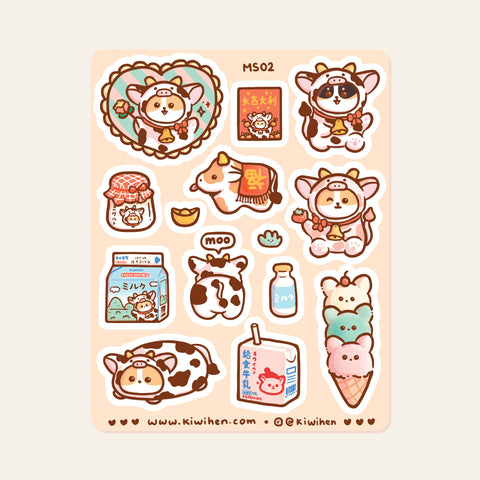 Moo Corgi Sticker Sheet