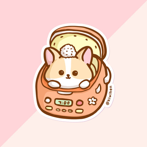 Peach Rice Cooker Corgi Vinyl Sticker