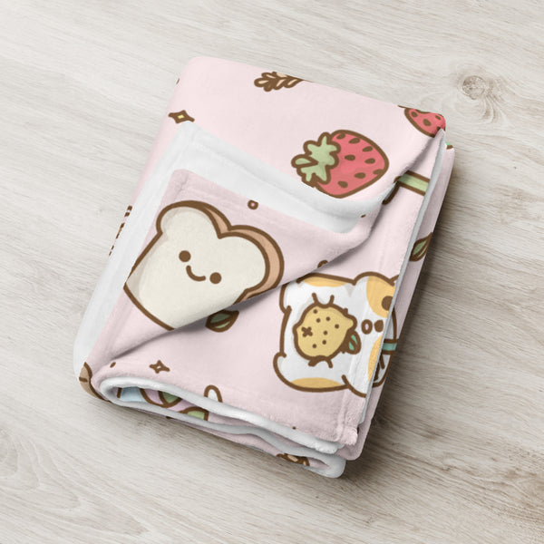 Boba Corgi Pink Fleece Blanket