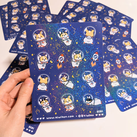 Space Corgi Sticker Sheet