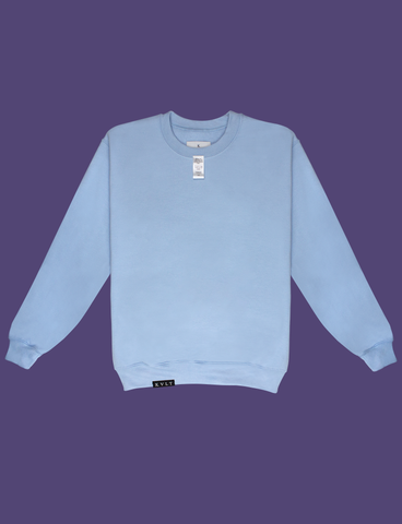 Front view of the A WARM HUG Sweater in Light Blue by KULT Clothing | When you wear this, I'll always be with you. A warm hug made out of cloth. I love you. KULT