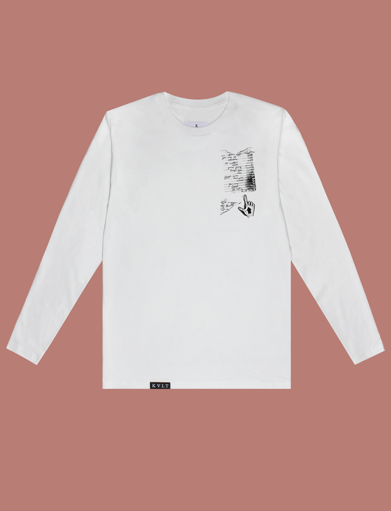 Front view of the IT WILL BE OK Longsleeve Tee by KULT Clothing | You are so valuable. No matter what you're going through right now, please know that you're needed. You are loved. It will be ok. KULT