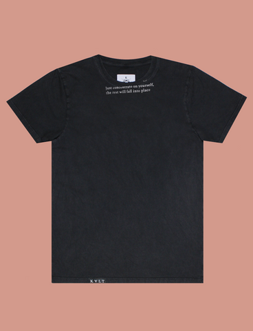 CONCENTRATE Tee in Sun-Bleached Black by KULT Clothing | eco-friendly, climate neutral t-shirt | Just concentrate on yourself, the rest will fall into place