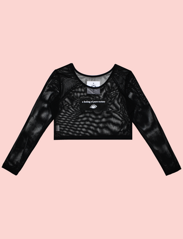ECSTASY Top by KULT Clothing | Black stretchy mesh long sleeve crop