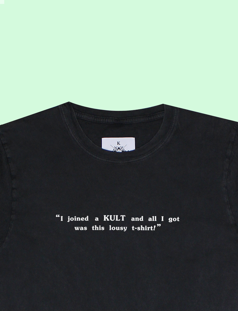 Close-up of the KULT MEMBER Tee in Sun-Bleached Black by KULT Clothing | eco-friendly, climate neutral t-shirt | I joined a KULT and all I got was this lousy t-shirt!