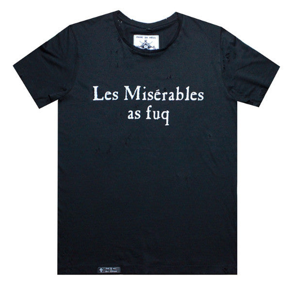 LES MISERABLES AS FUQ Tee in Black with distressing by KULT