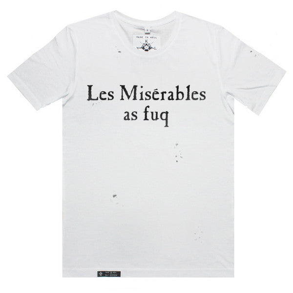 LES MISERABLES AS FUQ Tee in White with hand distressing by KULT
