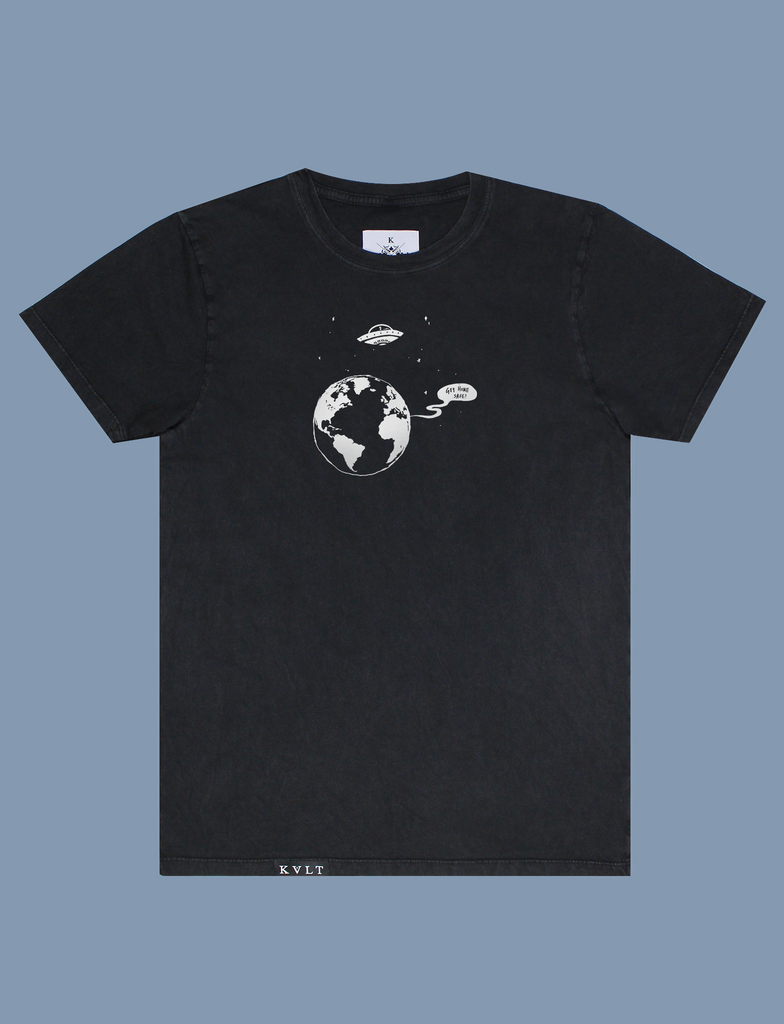 "TEXT ME BACK Tee in Sun-Bleached Black by KULT Clothing | eco-friendly, climate neutral t-shirt | ""Get home safe!"""
