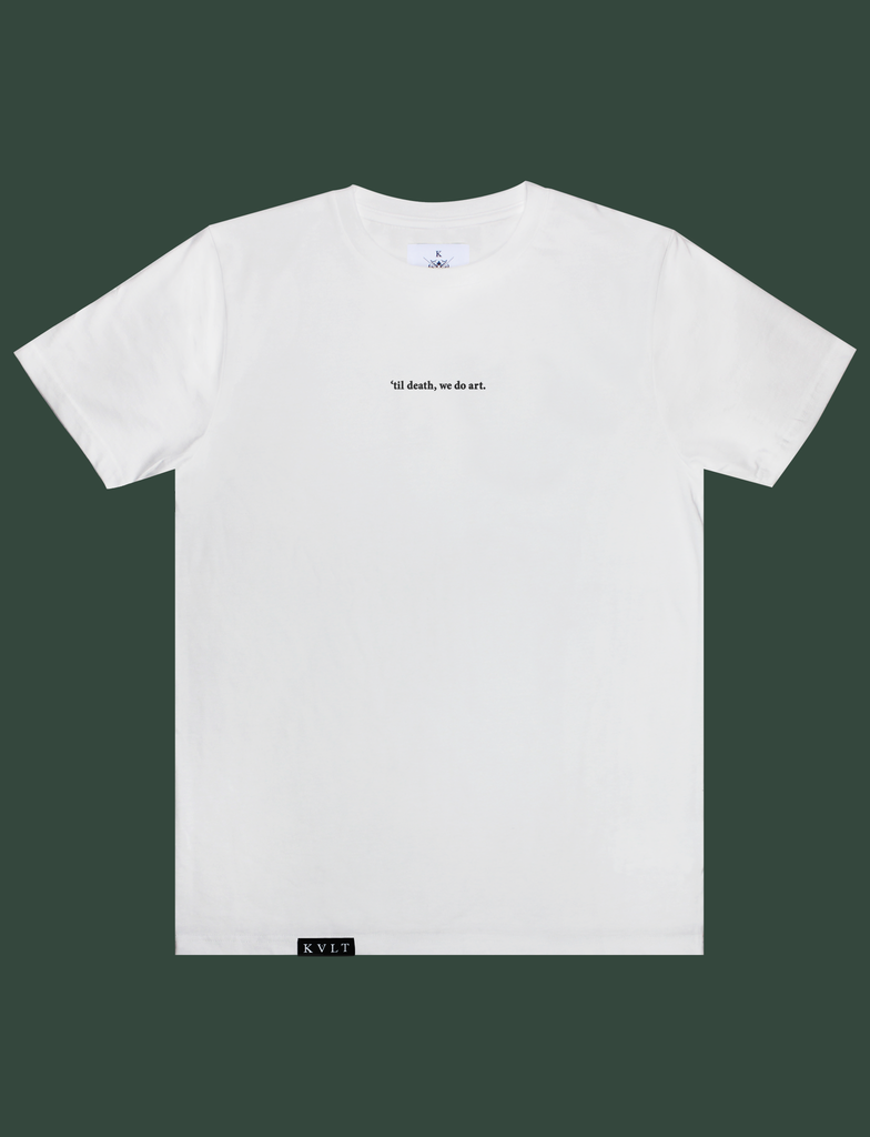 TIL DEATH Tee in White by KULT Clothing | eco-friendly, climate neutral t-shirt | 'til death, we do art. | till death we do art