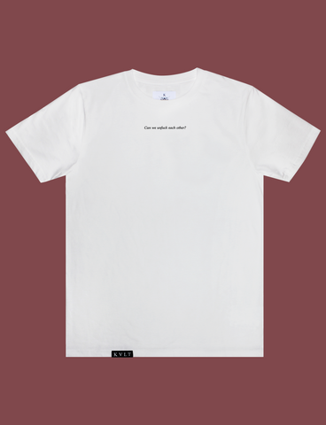 UNFUCKABLE Tee in White by KULT Clothing | eco-friendly, climate neutral t-shirt | Can we untuck each other?
