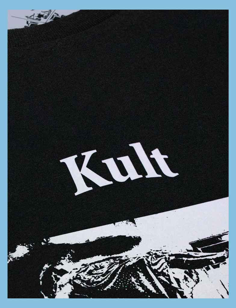 Close-up of the front print on the POSSESSED Tee by KULT Clothing | IF ONLY HAPPINESS WAS THIS EASY TO POSSESS