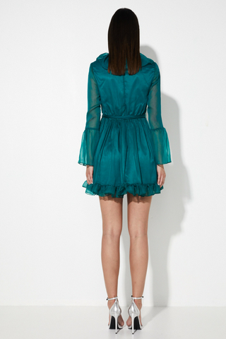 A WHISPER OF FATE MINI DRESS - TEAL