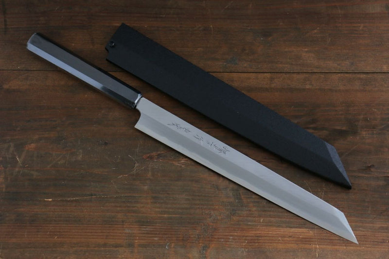 Sakai Takayuki Byakko White Steel No.1 Kiritsuke Yanagiba Japanese Knife 300mm Ebony Wood Handle with Sheath - Japanny - Best Japanese Knife
