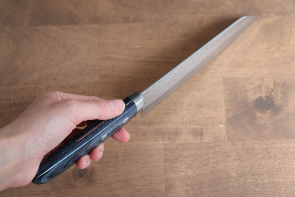 Katsushige Anryu 3 Layer Cladding Blue Super Core Hammerd Japanese Chef's Petty-Utility Knife 150mm