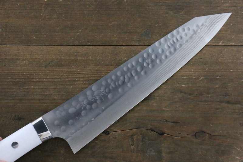 Takeshi Saji SRS13 Hammered Damascus Kengata Gyuto Japanese Knife 240mm White Stone Handle - Japanny - Best Japanese Knife