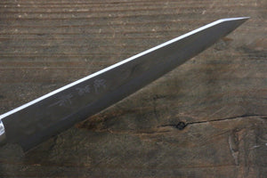 Takeshi Saji SRS13 Hammered Damascus Petty Japanese Chef Knife 130mm with White Stone handle