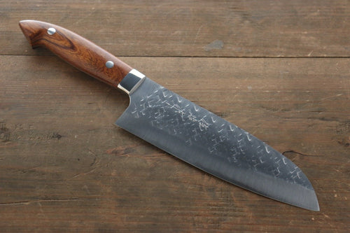 Takeshi Saji SRS13 Hammered Santoku Japanese Chef Knife 180mm with Iron Wood Handle - Japanny - Best Japanese Knife