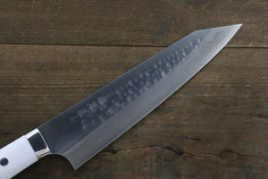 Takeshi Saji SRS13 Hammered Damascus Gyuto Japanese Chef Knife 210mm with White Stone handle