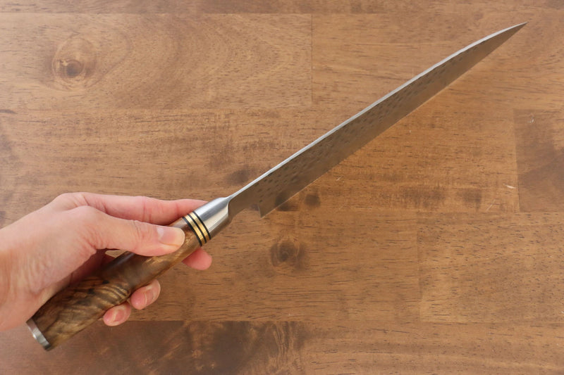 Takeshi Saji R2/SG2 Hammered(Maru) Gyuto Japanese Knife 210mm Chinese Quince Handle - Japanny - Best Japanese Knife