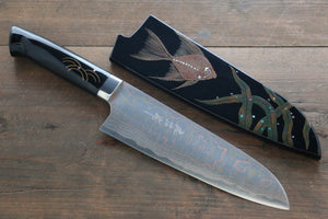 Takeshi Saji Colored Damascus Santoku Japanese Chef Knife 180mm with Maki-e Art Fish