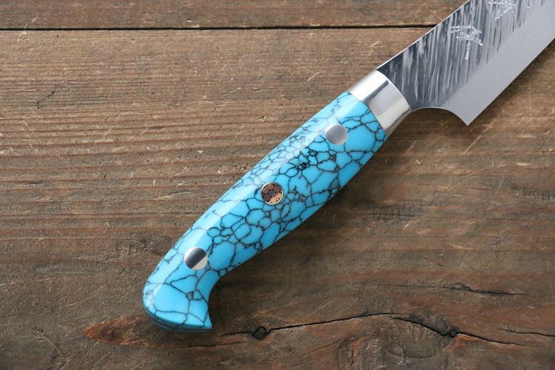 Yu Kurosaki Fujin SPG2 Hammered Damascus Petty-Utility Japanese Knife 130mm Turquoise - Japanny - Best Japanese Knife