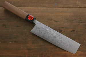 Shigeki Tanaka Blue Steel No.2  17 Layer Damascus Nakiri Japanese Chef Knife 165mm with Walnut Handle
