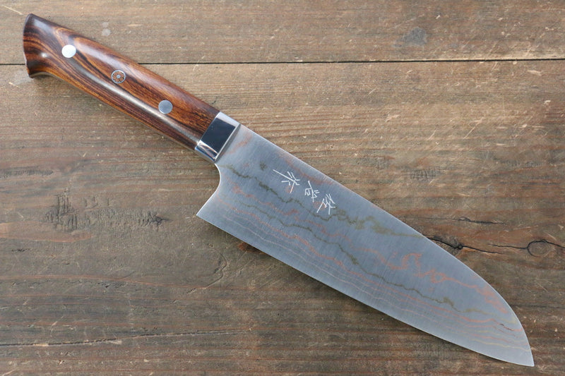 Takeshi Saji Blue Steel No.2 Colored Damascus Santoku Japanese Knife 180mm Ironwood Handle - Japanny - Best Japanese Knife