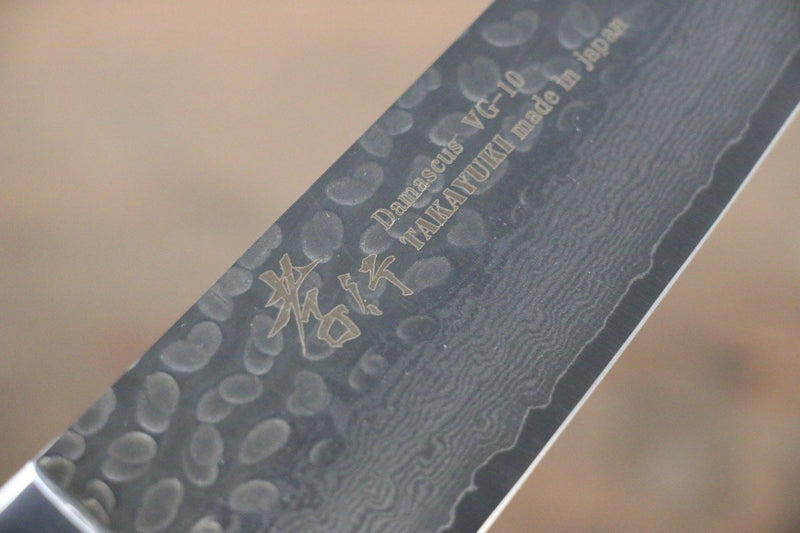 Sakai Takayuki 33 Layer Damascus VG10 Gyuto Japanese Chef Knife 180mm with Desert Iron Wood - Japanny - Best Japanese Knife