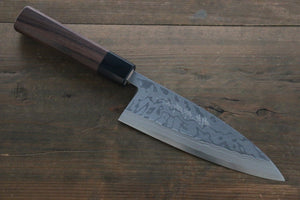 Hideo Kitaoka Blue Steel No.2 Damascus Deba Japanese Chef Knife 150mm