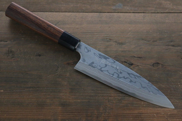 Hideo Kitaoka Blue Steel No.2 Damascus Funayuki Japanese Chef Knife 170mm