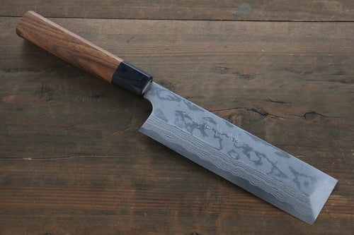 Hideo Kitaoka Blue Steel No.2 Damascus Kakugata Usuba Japanese Chef Knife 165mm - Japanny - Best Japanese Knife