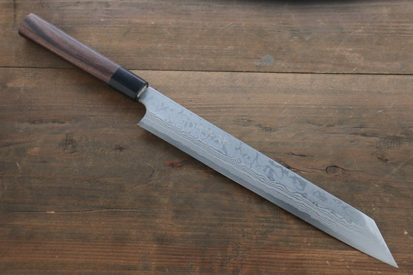 Hideo Kitaoka Blue Steel No.2 Damascus Kirituke Yanagiba Japanese Chef Knife 210mm