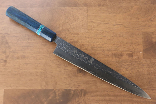Yu Kurosaki Senko R2/SG2 Hammered Sujihiki Japanese Knife 240mm Maple(With turquoise ring Blue) Handle - Japanny - Best Japanese Knife