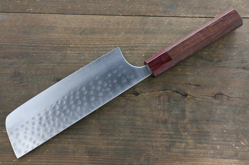 Yoshimi Kato Silver Steel No.3 Hammered Nakiri Japanese Chef Knife 165mm with Red Honduras Handle - Japanny - Best Japanese Knife