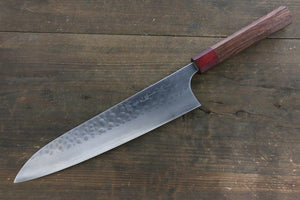 Yoshimi Kato Silver Steel No.3 Hammered Gyuto Japanese Chef Knife 240mm with Red Honduras Rosewood Handle
