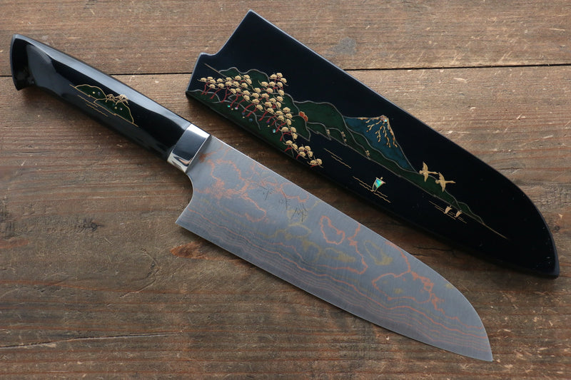 Takeshi Saji Blue Steel No.2 Colored Damascus Maki-e Art  Santoku Japanese Knife 180mm with Lacquered Handle (Fuji) - Japanny - Best Japanese Knife